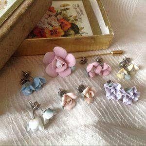 Sweet Vintage Flower Earrings Antique Card Box